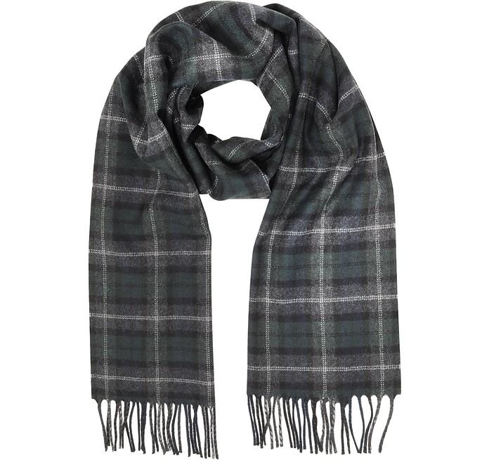 Tartan Solid Wool Fringed Scarf - Lanvin