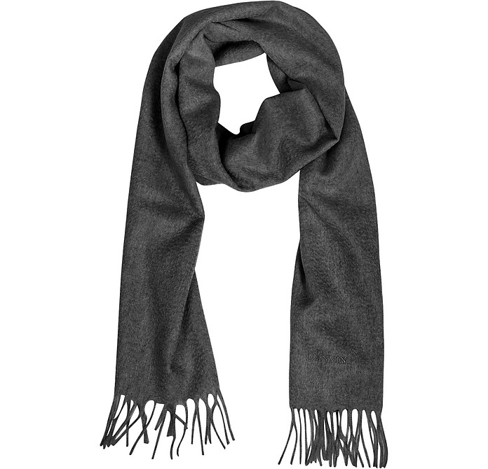 Solid Cashmere Fringed Long Scarf - Lanvin