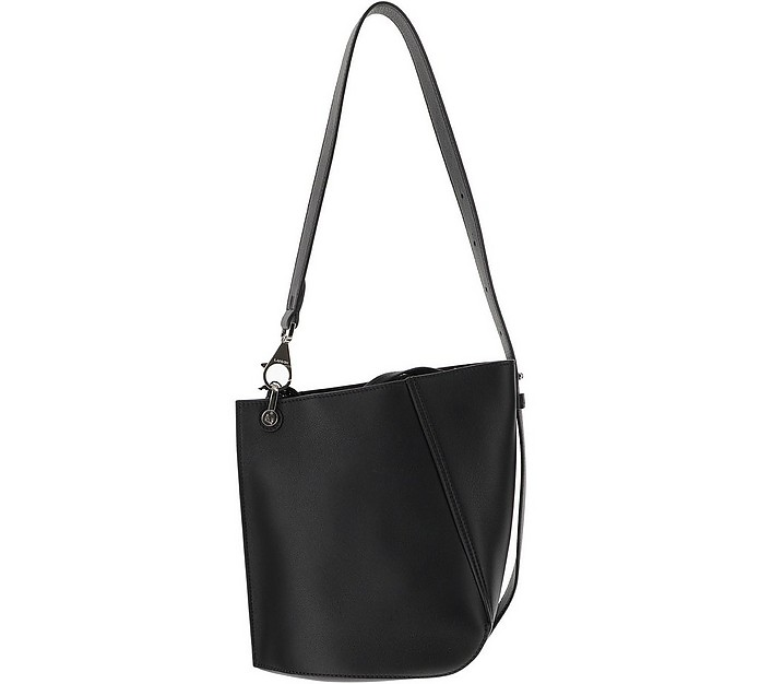 Black Grained Leather Hook Bucket Bag - Lanvin