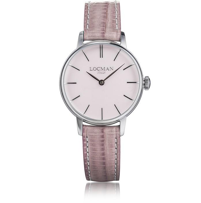 1960 Silver Stainless Steel Women's Watch w/Pink Croco Embossed Leather Strap - Locman