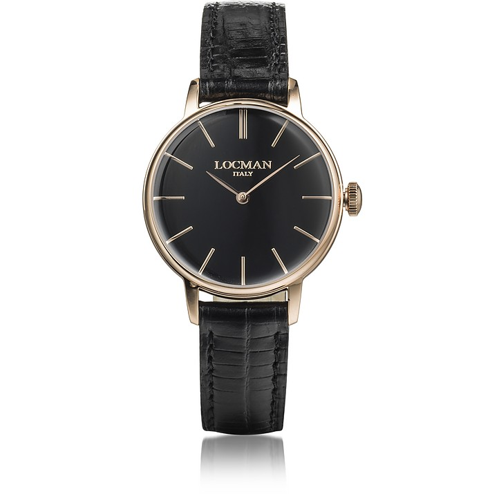 1960 Rose Gold PVD Stainless Steel Women's Watch w/Black Croco Embossed Leather Strap - Locman