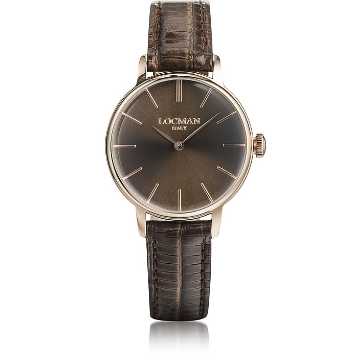 1960 Rose Gold PVD Stainless Steel Women's Watch w/Brown Croco Embossed Leather Strap - Locman