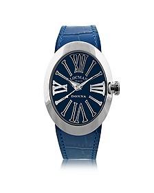 Change Blue Stainless Steel Oval Case Women's Watch w/3 Leather Straps - Locman