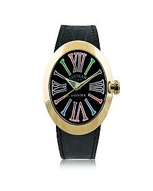 Change Gold Plated Stainless Steel Oval Case Women's Watch w/3 Leather Straps - Locman