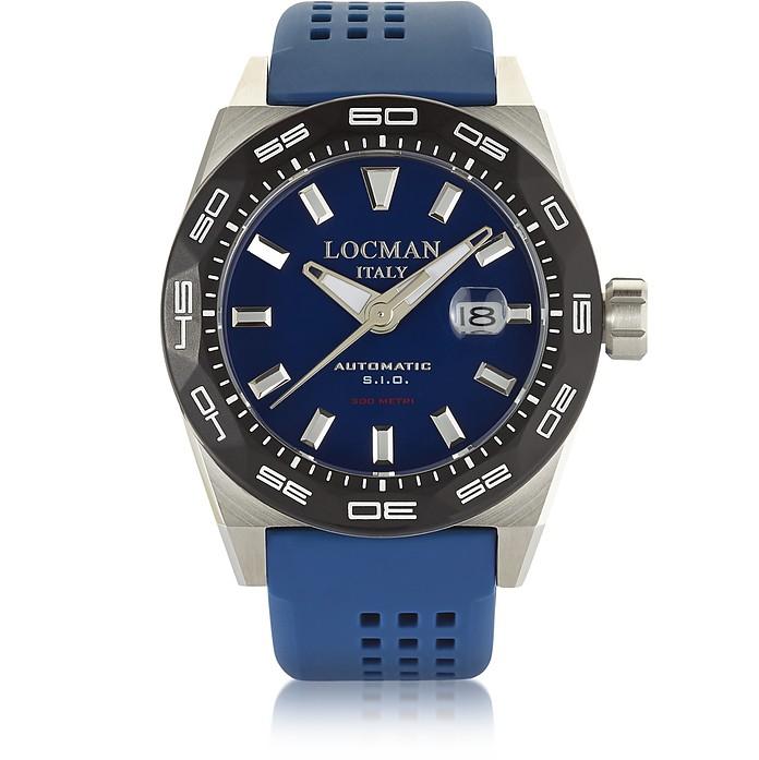Stealth 300 mt Analog Display Automatic Self Wind Blue Stainless Steel, Titanium and Silicone Men's Watch - Locman