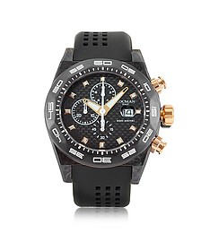 Stealth 300mt Black/Gold Carbon Fiber and Titanium Quartz Movement Men's Chronograph Watch - Locman