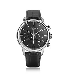 1960 Silver Stainless Steel Men's Chronograph Watch w/Black Croco Embossed Leather Strap - Locman