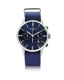 1960 Stainless Steel Men's Chronograph Watch w/Blue Canvas Strap - Locman