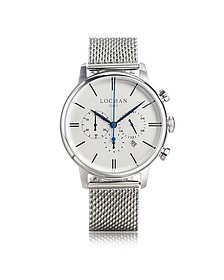 1960 Silver Stainless Steel Men's Chronograph Watch - Locman