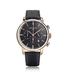 1960 Rose Gold PVD Stainlees Steel Men's Chronograph Watch w/Black Strap - Locman