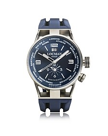 Montecristo Blue Stainless Steela & Titanium Dual Time Men's Watch - Locman