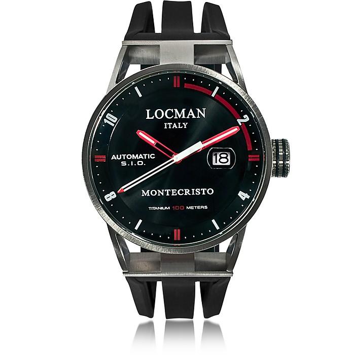 Montecristo Reloj Cronógrafo para Hombre de Acero Inoxidable Negro y Titanio con Correa de Silicona - Locman