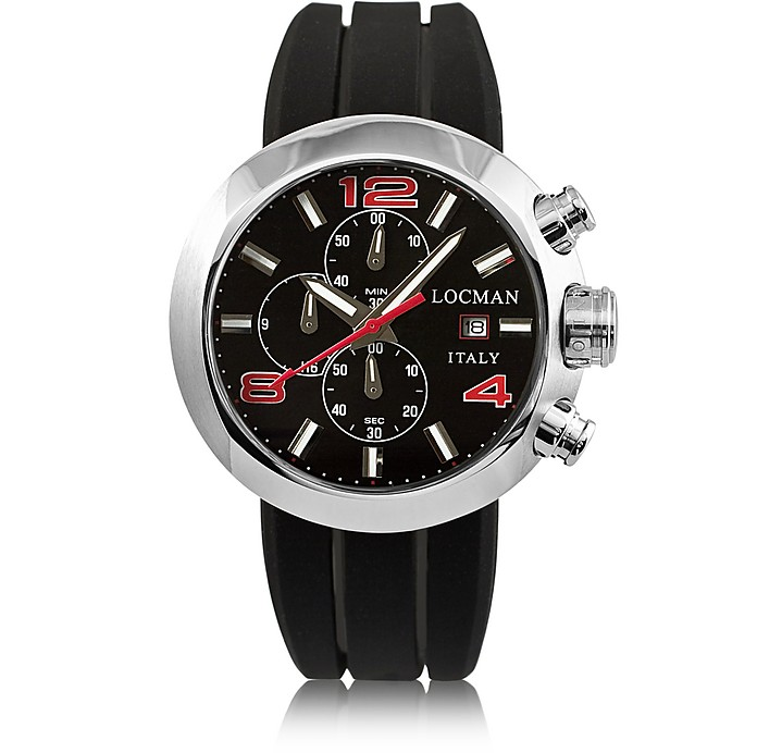 Change Stainless Steel Round Case Men's Chronograph w/ Silicone & Leather Straps - Locman