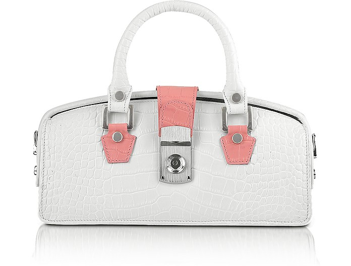 Ivory Croco-embossed Mini Doctor Bag - L.A.P.A.