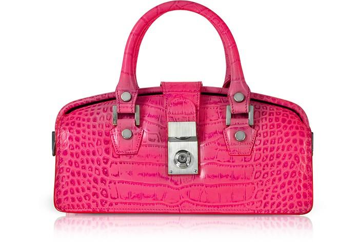 Mini-Tasche im Doktorstil aus Leder mit Krokodilprägung in Hot Pink - L.A.P.A.