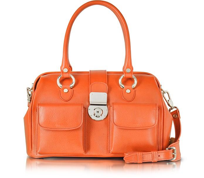 Lederhandtasche im Doktorstil mit aufgesetzten Vordertaschen - L.A.P.A.