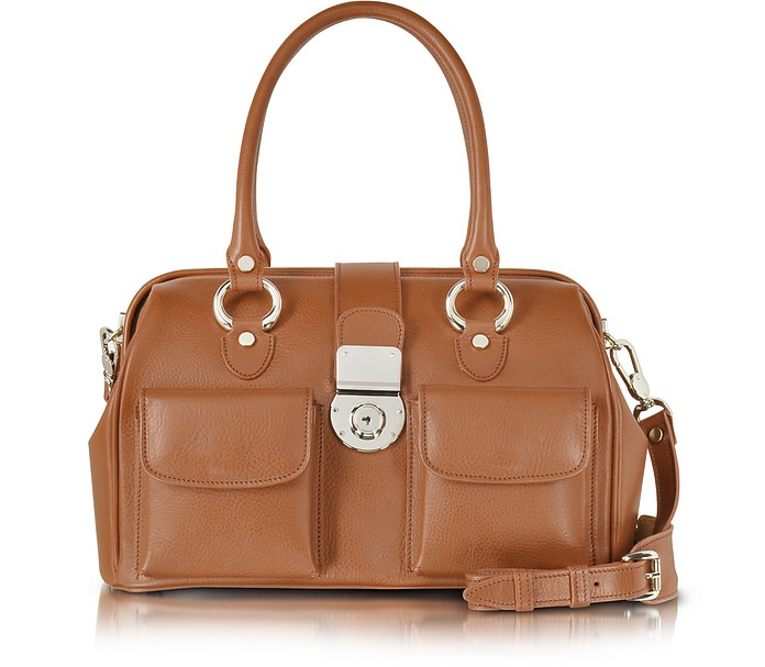 Front Pocket Calf Leather Doctor-style Handbag - L.A.P.A.