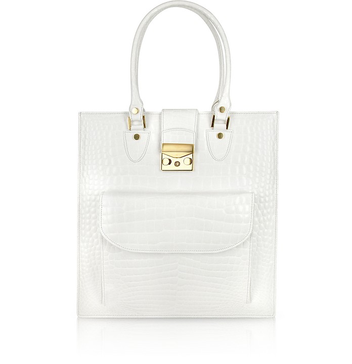 White Croco Stamped Leather Tote Bag - L.A.P.A.