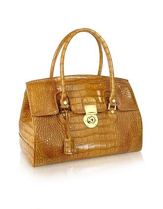 7e8a66697d8 Camel Croco Stamped Genuine Leather Satchel Bag - L.A.P.A.