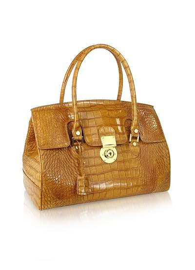 Camel Croco Stamped Genuine Leather Satchel Bag - L.A.P.A.