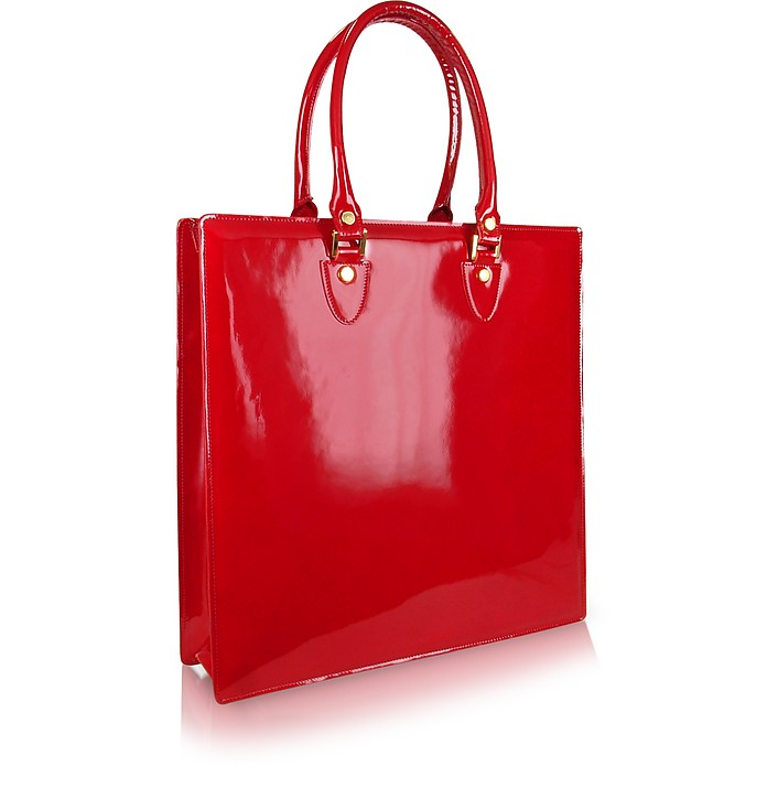 Ruby Red Patent Leather Tote Bag - L.A.P.A.