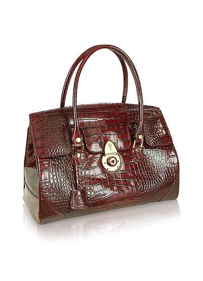 Rubinrote Handtasche aus Leder mit Krokodilprägung - L.A.P.A.