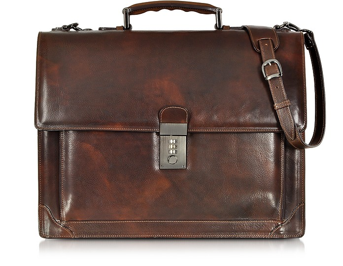 Cristoforo Colombo Collection Leather Briefcase - L.A.P.A.