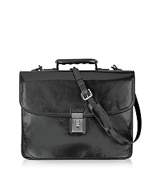 Classic Black Leather Briefcase - L.A.P.A.