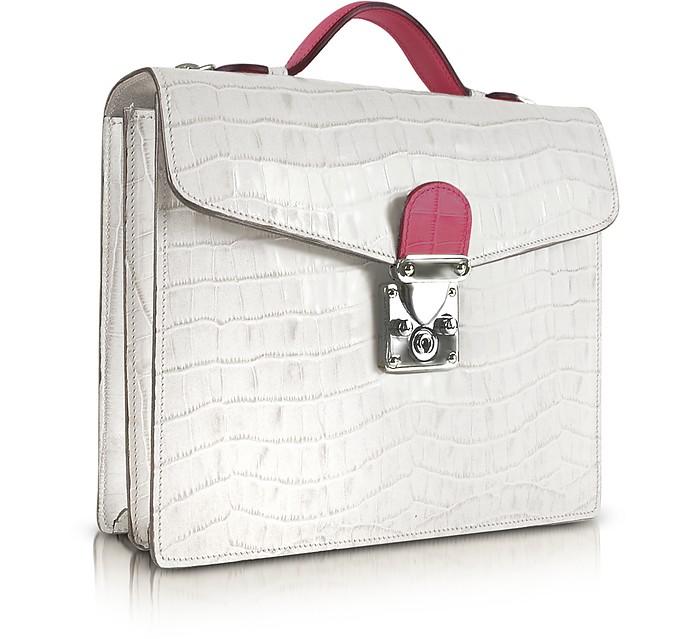 White & Fuchsia Croco-embossed Double Gusset Mini Briefcase - L.A.P.A.