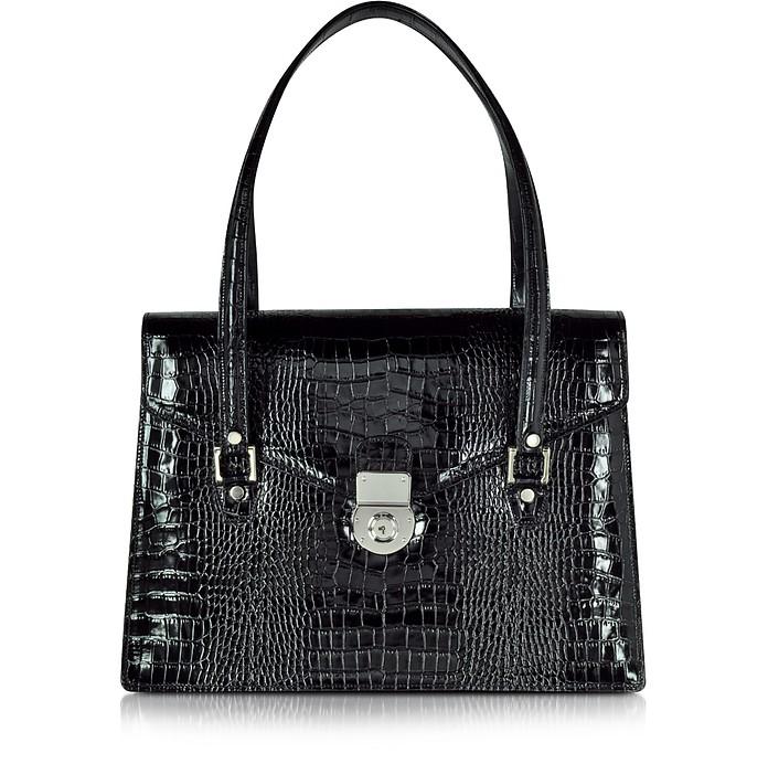 Schwarze Aktentasche im Kroko-Stil mit doppelter Seitenfalte - L.A.P.A.