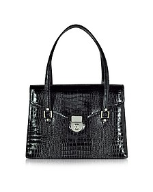 Black Croco-style Leather Double Gusset Briefcase  - L.A.P.A.