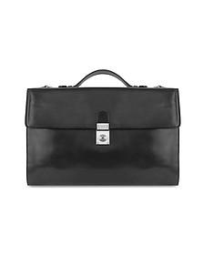 Men's Black Italian Leather Portfolio Briefcase - L.A.P.A.