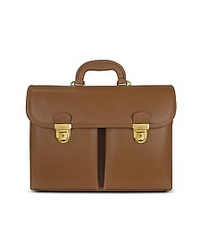 Men's Front-pocket Tan Brown Italian Leather Briefcase - L.A.P.A.