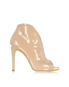 Nude Patent Leather Bootie