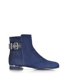 Navy Blue Suede Bootie w/Ankle Strap