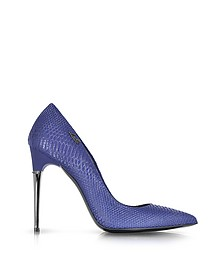 Blue Reptile Print Leather Pump
