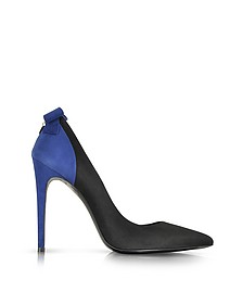 Pointed Black and Blue Suede Pump