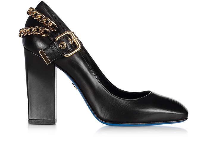 LORIBLU Designer Shoes, Leather Pump w/Decorative Buckle and Chains.