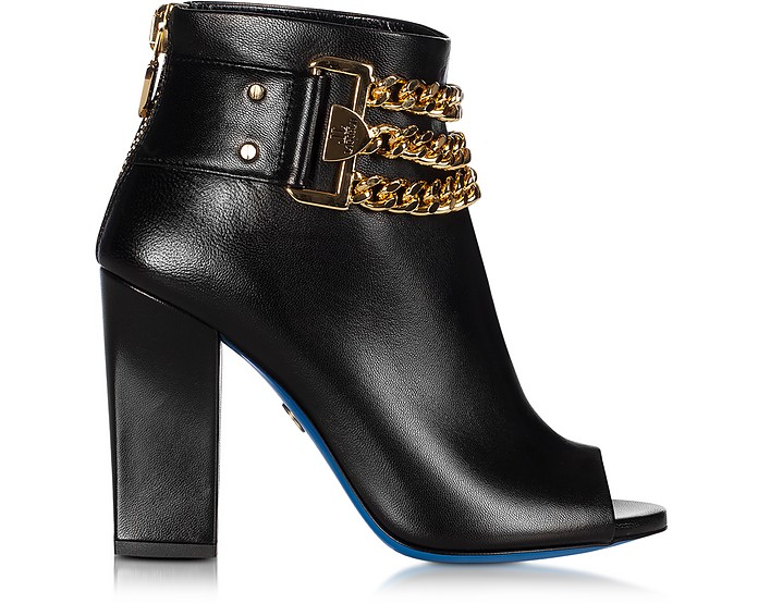 LORIBLU BLACK LEATHER OPEN TOE ANKLE BOOTS