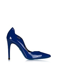 Blue Patent Leather Pointed Pump - Loriblu