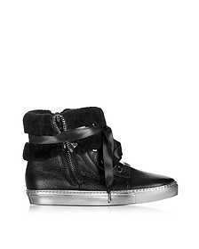 Cuffed Black Leather Sneaker - Loriblu
