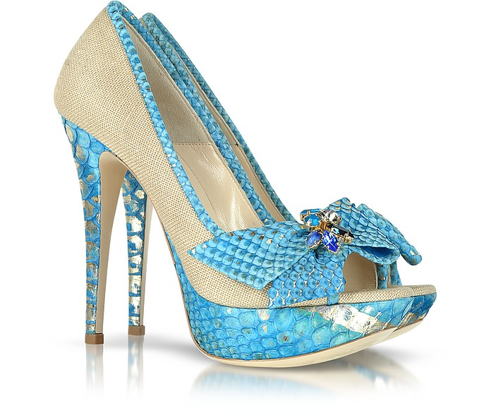 Python Leather and Canvas Pump - Loriblu