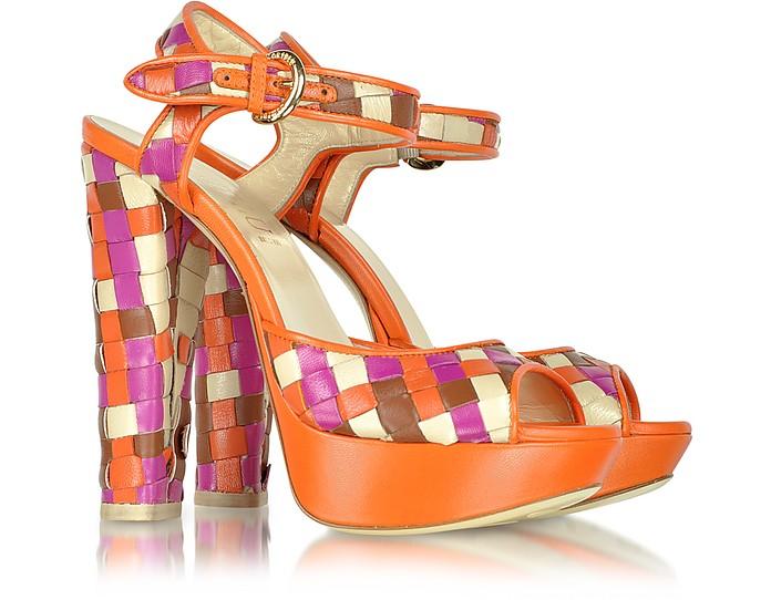 Multicolor Woven Leather Platform Sandal - Loriblu