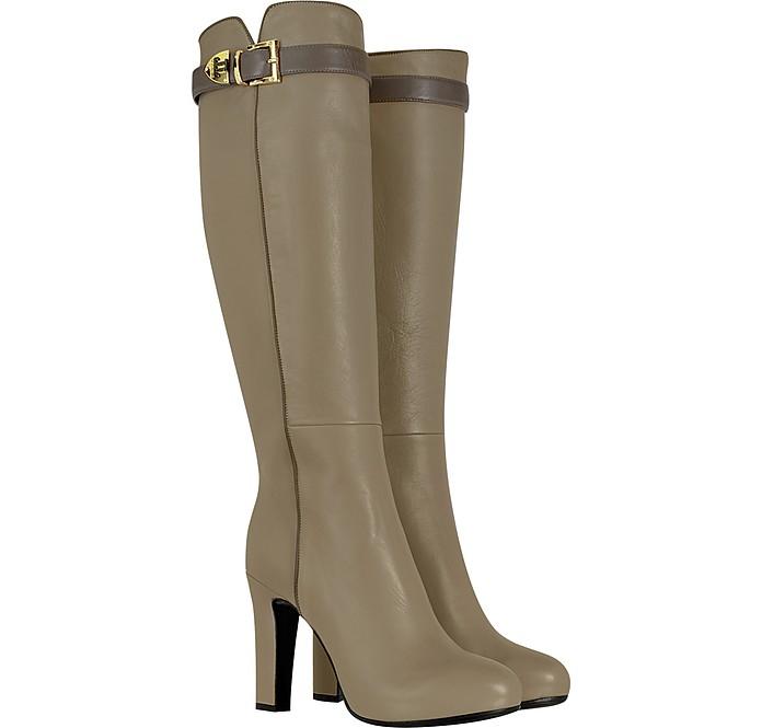 Beige Knee High Nappa Leather Boots - Loriblu