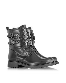 Black Leather Combat Boot w/Crystal