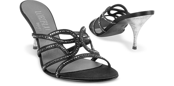 Black Crystal and Satin Evening Slide - Loriblu