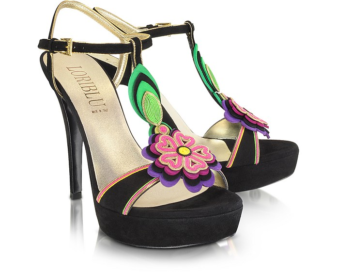 Suede and Leather Flower Sandal - Loriblu