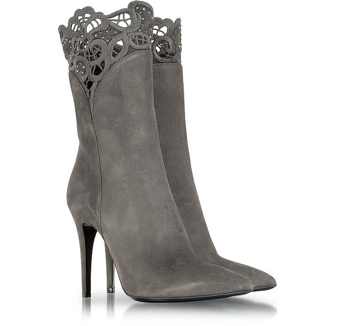 Gray Suede High Heel Bootie - Loriblu
