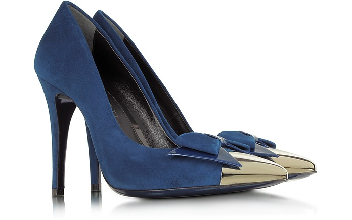 Blue Suede with Metallic Toe Pump - Loriblu