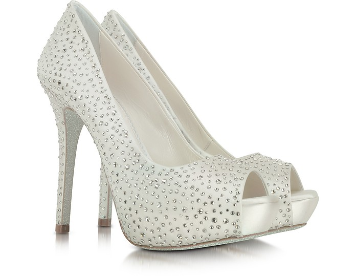 LORIBLU Ivory Satin Platform Open Toe Pump in Silver